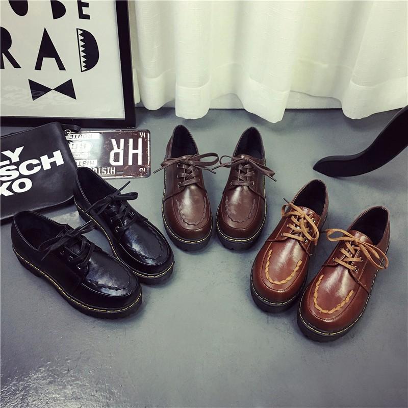 ✈學院風松糕厚底低幫小皮鞋英倫復古圓頭娃娃鞋系帶鞋學生鞋