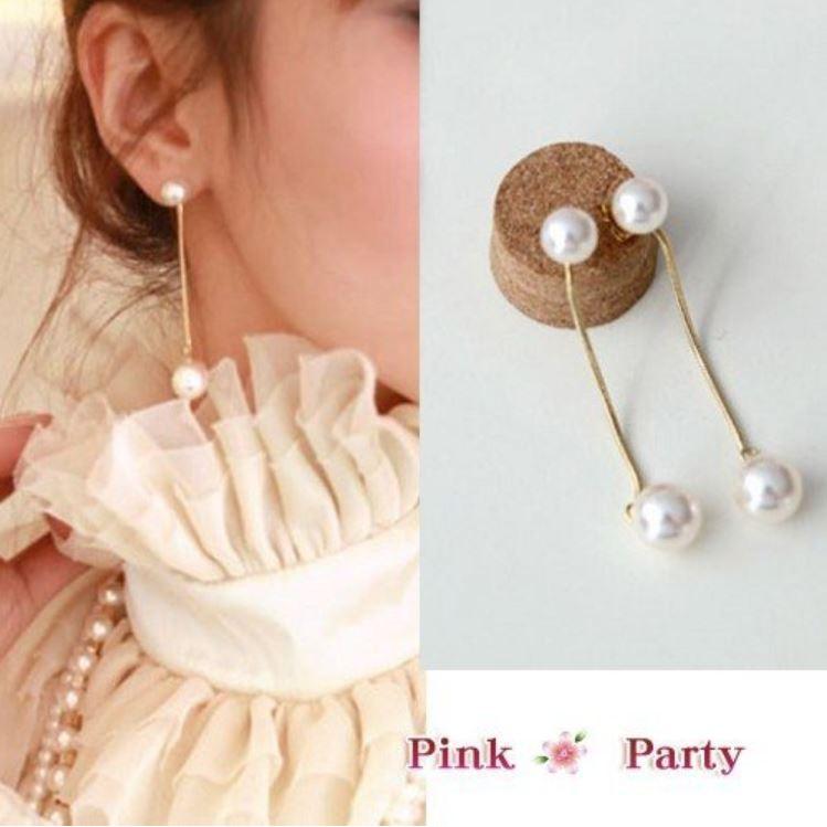 耳夾~PinkParty ❤╯EH095 韓國飾品氣質名媛款珍珠線條流蘇夾式耳環耳夾新娘秘