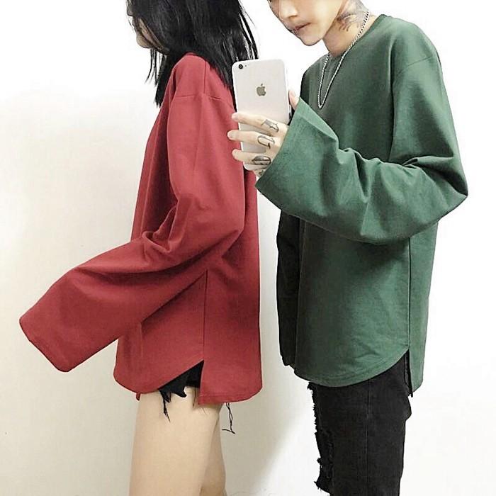 韓國情侶素色長袖上衣韓妞復古寬袖子OVERSIZE 下擺開岔情侶款超長袖上衣