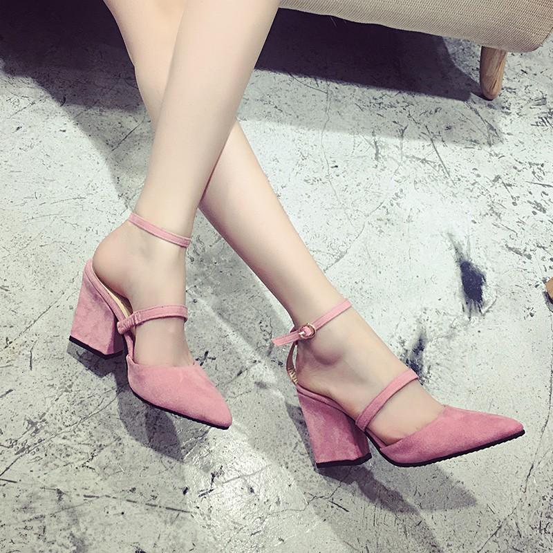 簡約一字扣尖頭粗跟高跟鞋淺口英倫涼鞋百搭女鞋