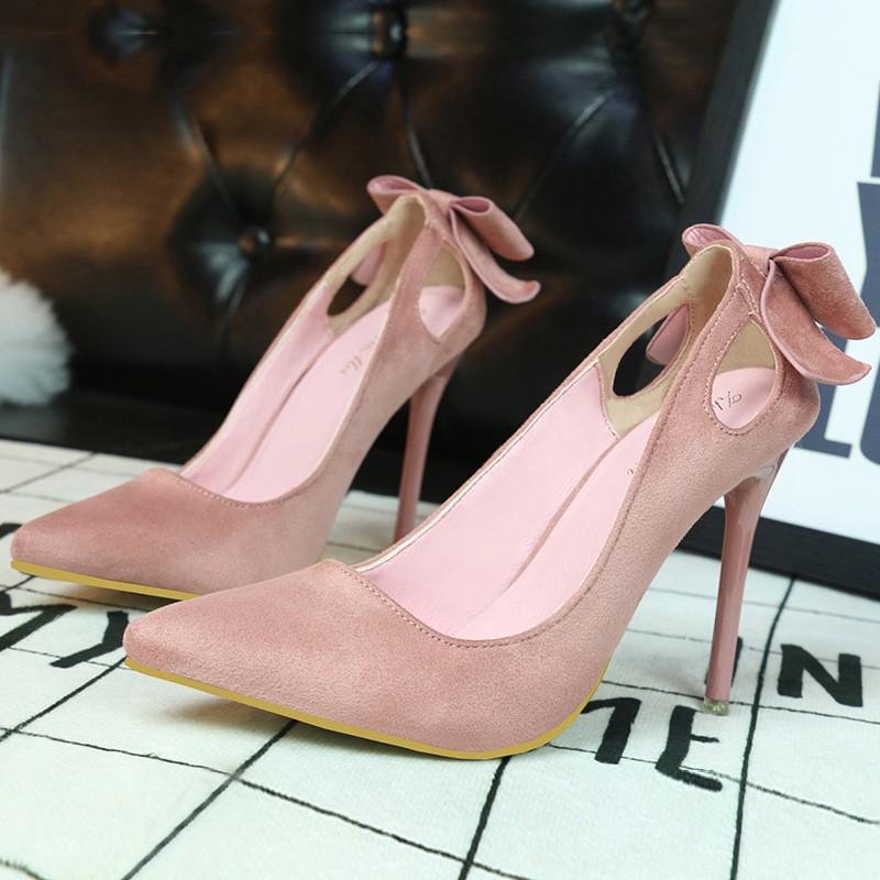 ~販賣美好~3168 1 甜美女高跟鞋細跟顯瘦高跟絨面淺口尖頭鏤空蝴蝶結單鞋