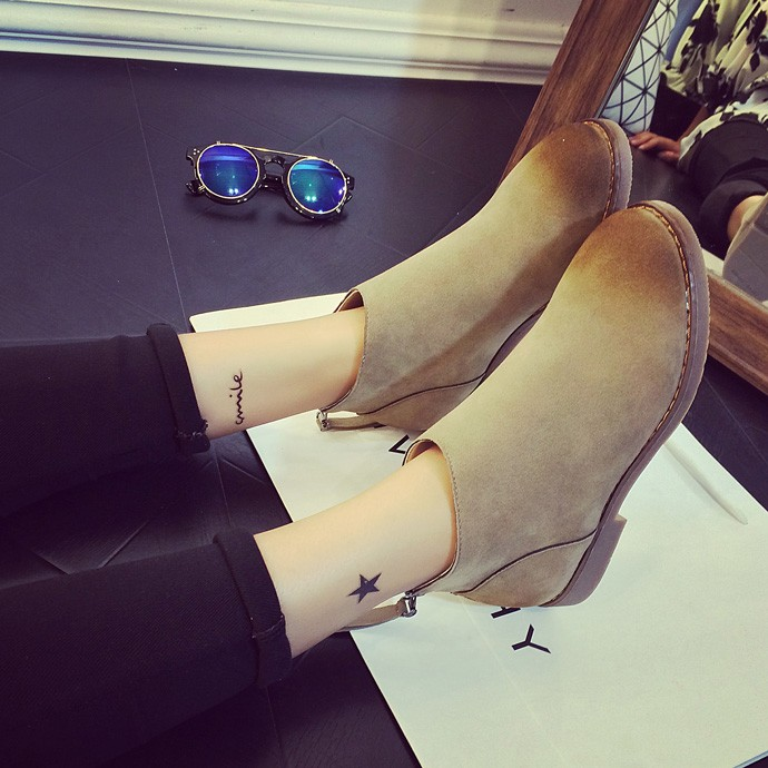 秋 厚底短靴平底單鞋及踝裸靴子磨砂皮學生英倫潮女馬丁靴