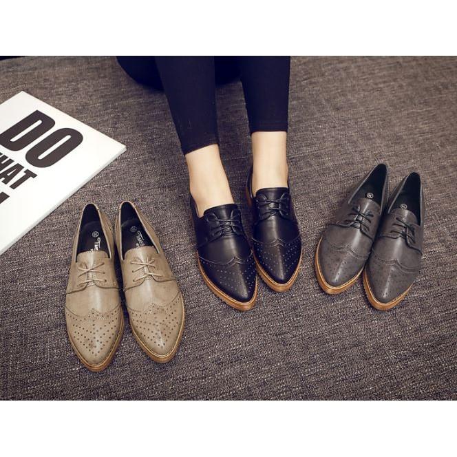 英倫布洛克雕花平底鞋學院風平跟繫帶牛津鞋復古小皮鞋女鞋