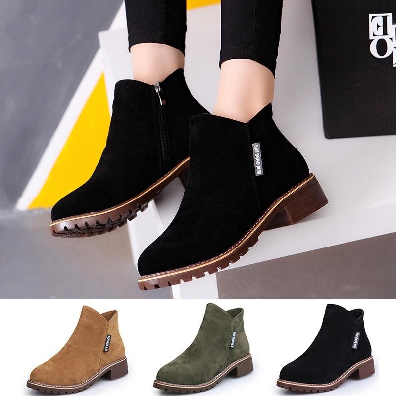 潮范女生短靴低跟裸靴復古粗跟馬丁靴圓頭及踝靴磨砂皮舒適女靴潮爆(3 色 ,35 39 碼)
