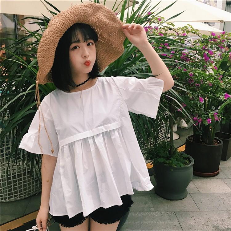 ~ 實拍~純色襯衫2017 夏 女生衣著寬鬆簡約顯瘦 甜美學院風日系甜美短袖娃娃衫顯瘦純色