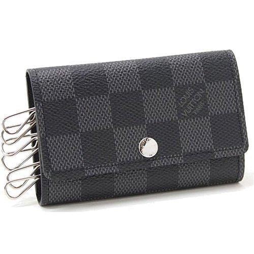 Louis Vuitton LV N62662 黑棋盤格紋六孔鑰匙包LV 男女鑰匙包棋