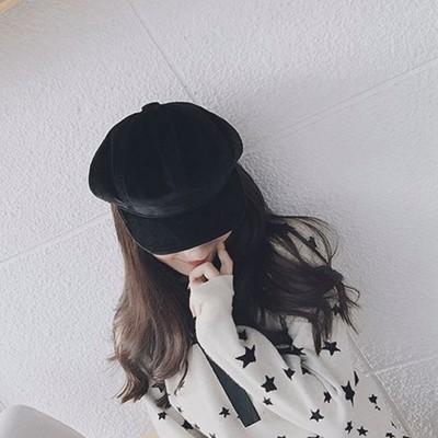 NEW375 訂製網紅同款復古八角帽氣質絲絨畫家帽 英倫素色女貝雷帽54061536467