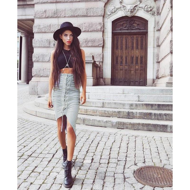 女裝 半身裙綁帶開叉不規則下擺性感包臀彈性腰圍純色 修身短裙