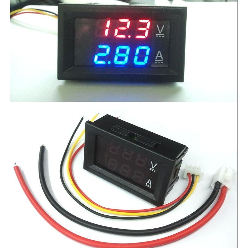 ►621 ◄DC0 100V 10A LED 直流雙顯示 電壓電流錶頭帶微調