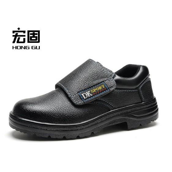 ~工作鞋~免綁帶魔鬼氈強化防穿刺鋼頭鞋非檢驗安全鞋女款男款