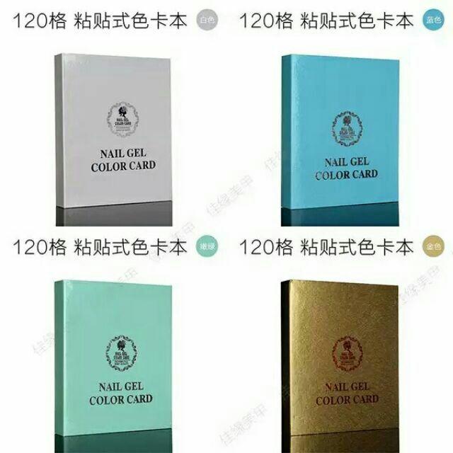 美甲色卡本展示板120 色指甲油膠色板樣板卡本甲片盒粘帖式