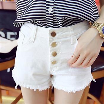 6068 性感別緻排扣磨邊高腰白色牛仔短褲女修身顯瘦百搭熱褲