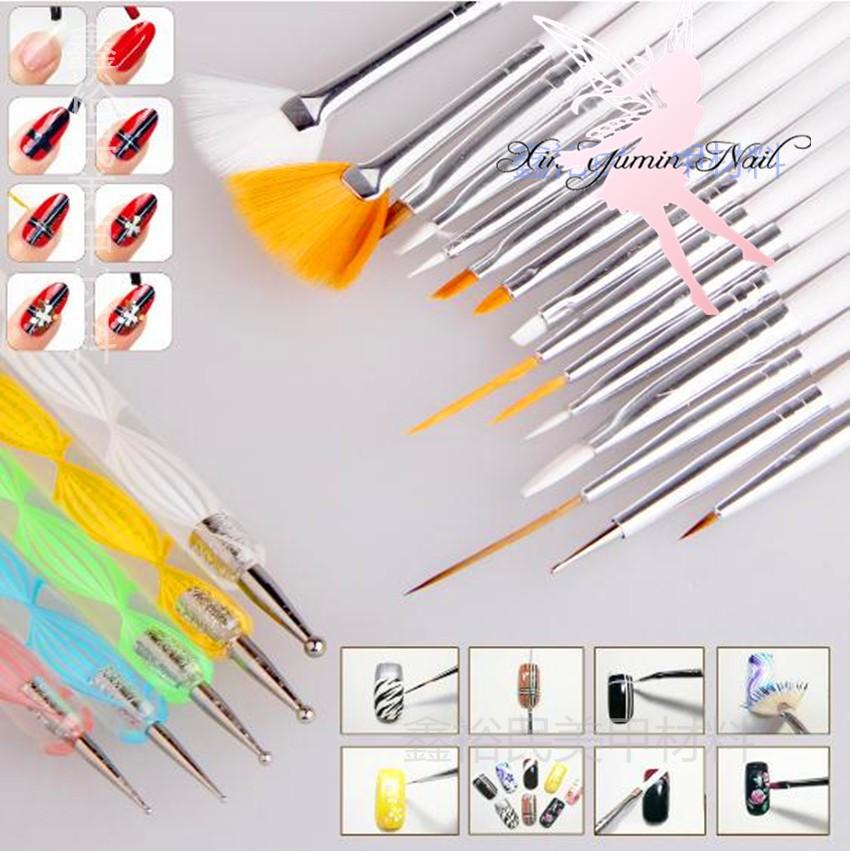 15 支彩繪筆5 支點鑽筆20 件套組光療美甲筆閃粉亮片光療水晶美甲材料L 23