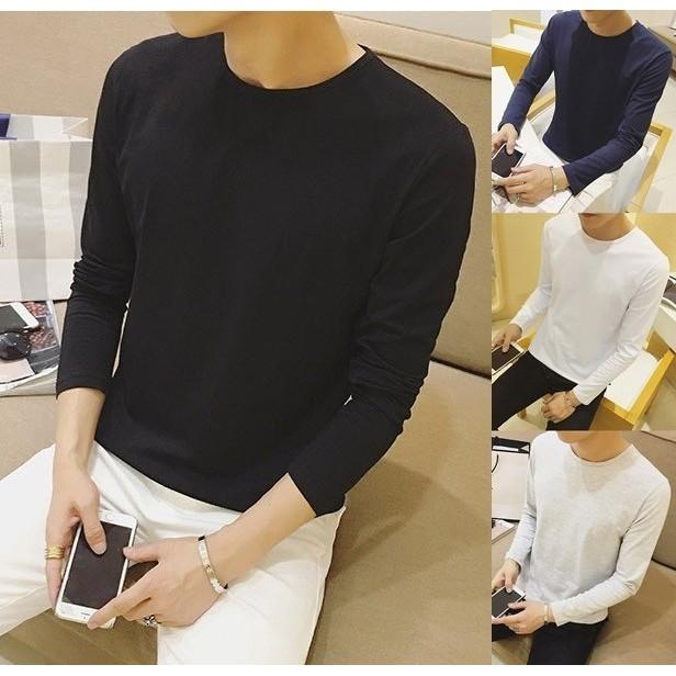 (微彈圓領T 恤內搭衣)長T 打底衫男純色情侶T 恤素面長袖上衣男棉質T 恤素色長袖T 恤