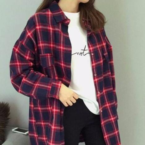 朵莉衣櫥紅藍格子百搭 文藝複古寬鬆襯衫女中長款翻領學生襯衣外套