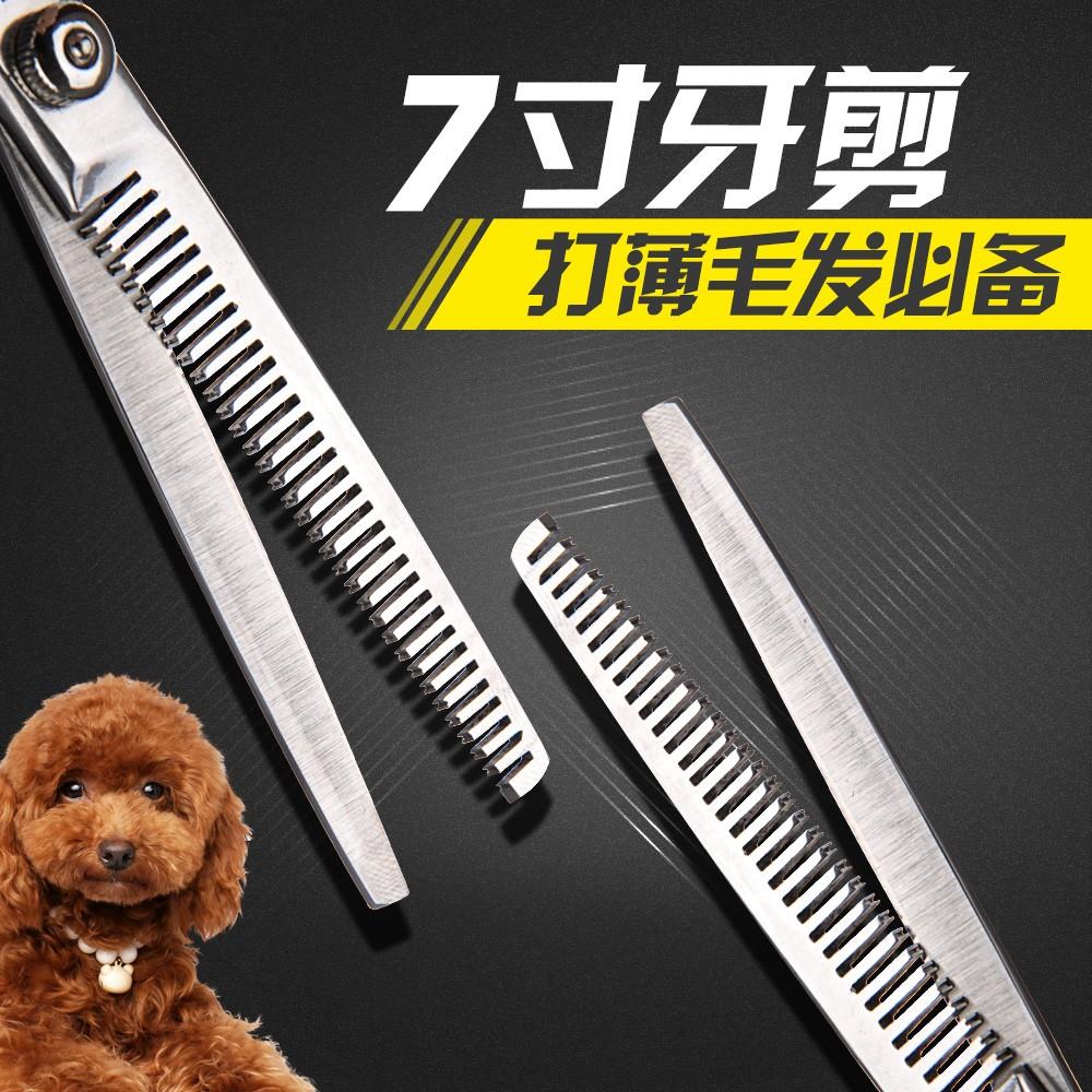 寵物美容剪不銹鋼7 寸牙剪狗狗修毛剪修毛刀貓咪剪刀寵物理發工具