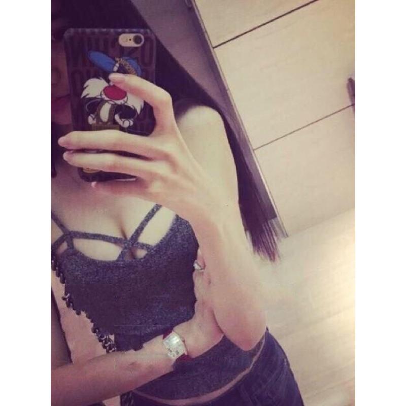 2016 夏裝 性感夜店裝交叉胸前鏤空小背心低胸小吊帶女短款
