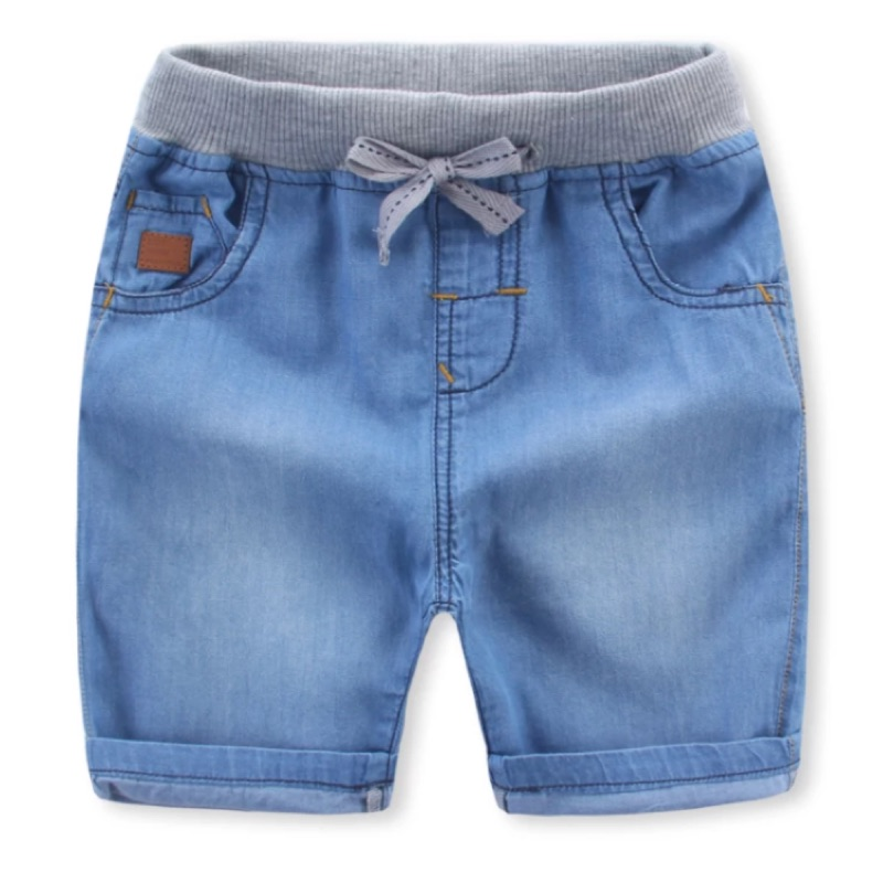 男童夏裝刷白抽繩牛仔中短褲單寧牛仔褲