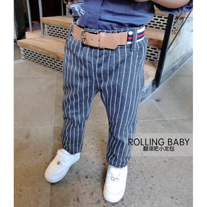 韓款 直條紋灰色休閒西裝褲附腰帶105 125cm 休閒褲長褲男花童禮服音樂發表會服
