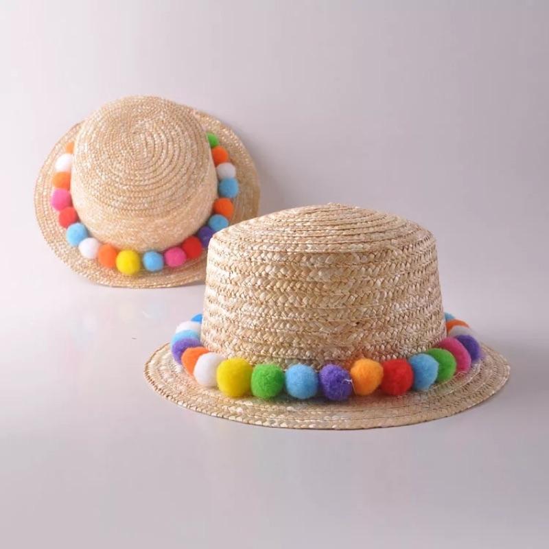 親子草帽沙灘帽野餐彩球雛菊