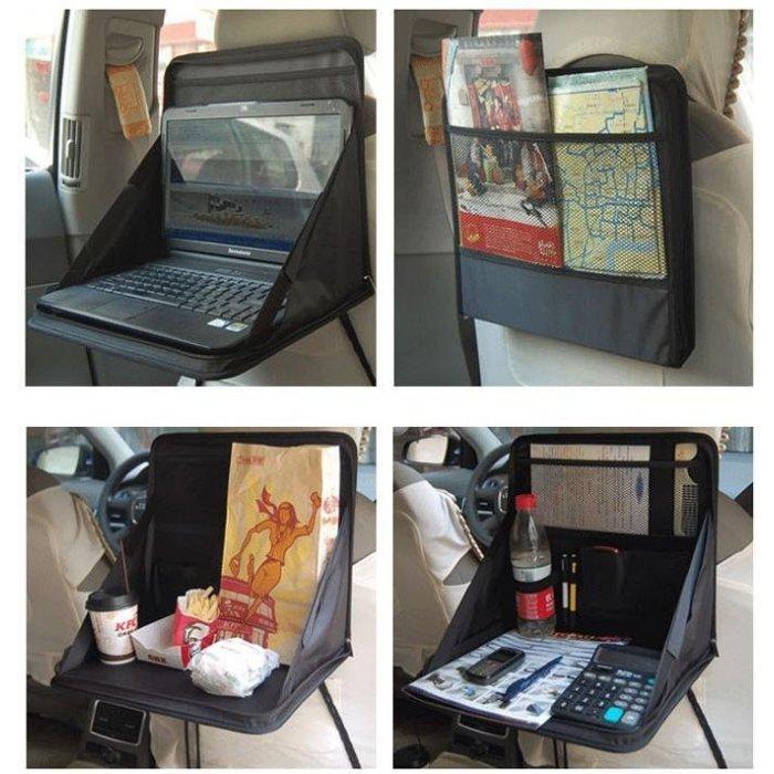 ~汽車萬用可摺疊收納電腦桌~筆電托盤車用餐桌寫字桌椅背雜物袋電腦包約14 吋規格