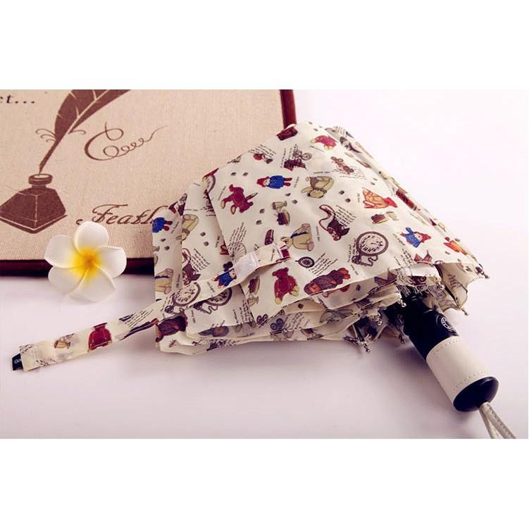 ~ ~超 可愛卡通泰迪熊熊傘防紫外線遮陽傘黑膠全自動三折折疊傘晴雨傘