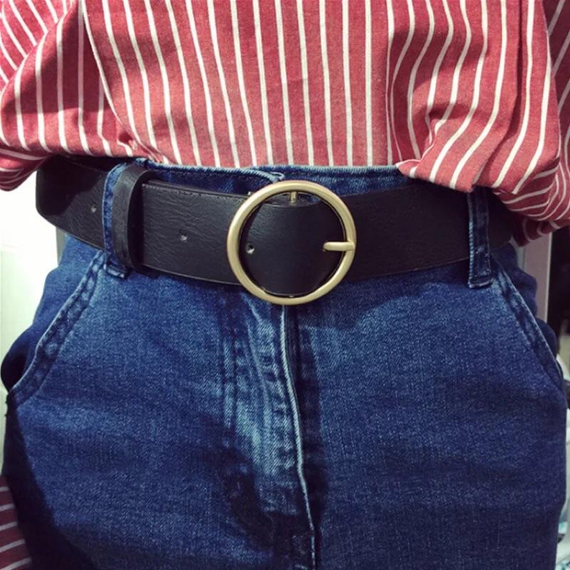 咖啡色 ✨基礎休閒潮流 PU 皮圓扣光面女式學生腰帶皮帶
