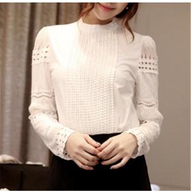 新女性修身打底長袖蕾絲勾花鏤空白襯衫