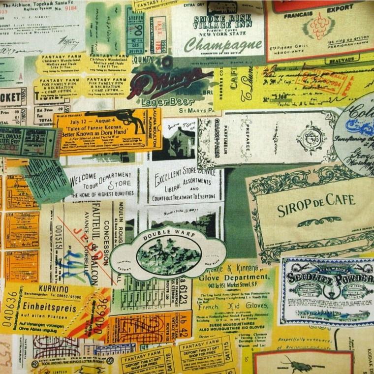 歐洲復古標籤棉麻布料拼布˙手作˙桌布˙背景˙棉麻˙露營˙野餐˙英文報紙