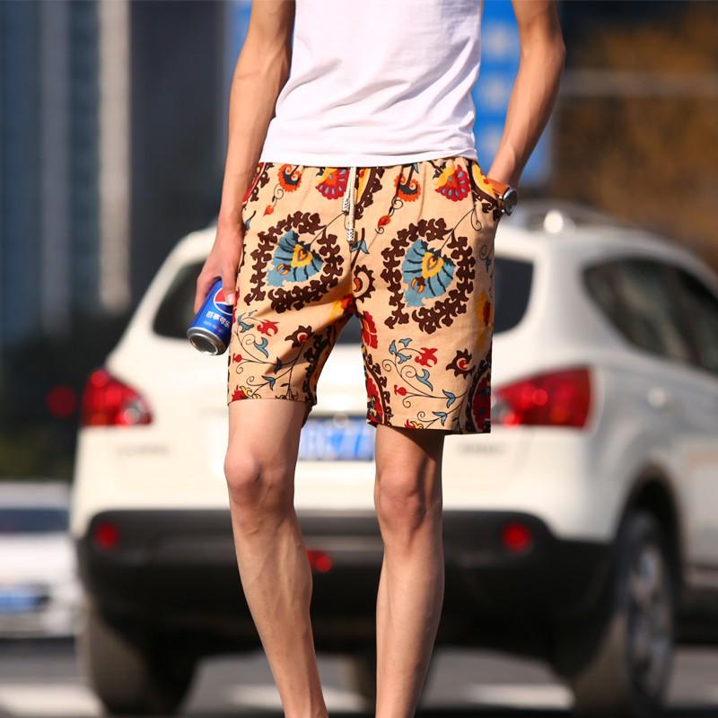 男士沙灘褲休閒褲 花短褲 寬鬆中褲5 分五分褲子薄男裝潮