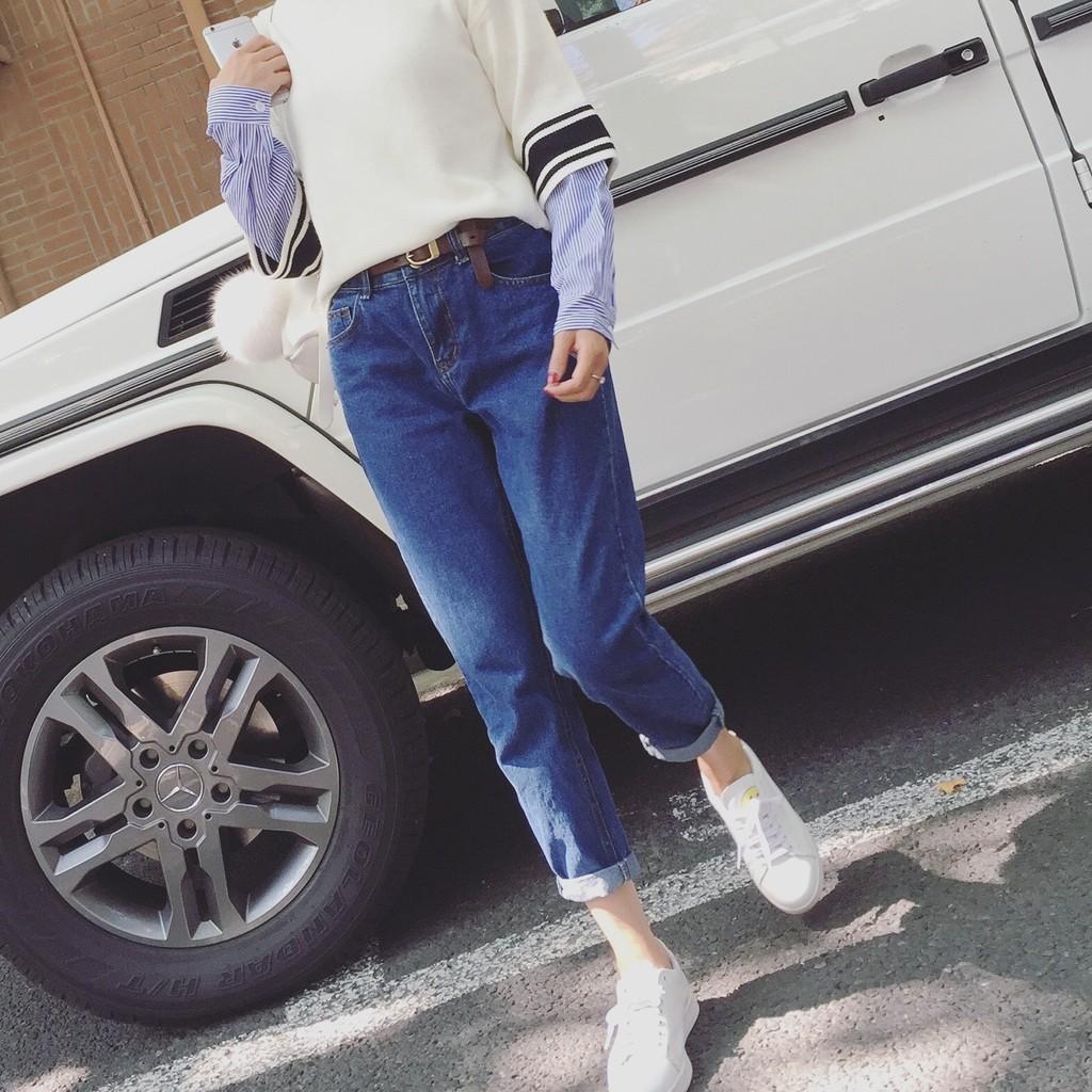MOMO 牛仔長褲2017  潮流百搭寬鬆大碼褲子薄款學生牛仔褲 實拍 爆款韓系韓國哈倫褲