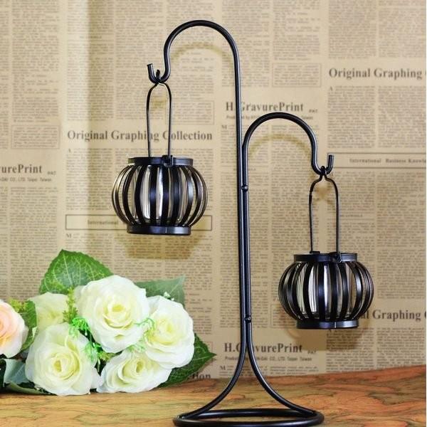 zakka 雜货歐式美麗線條燈籠鐵藝燭台雙吊式歐式燭台蠟燭臺婚慶燭台擺飾