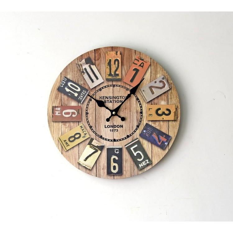 妙妙屋復古懷舊時鐘静音挂鐘 無框壁鐘實木時鐘
