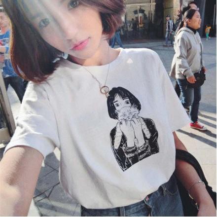 人物印花短袖圓領短袖T 恤 學生寬鬆顯瘦上衣姊妹裝