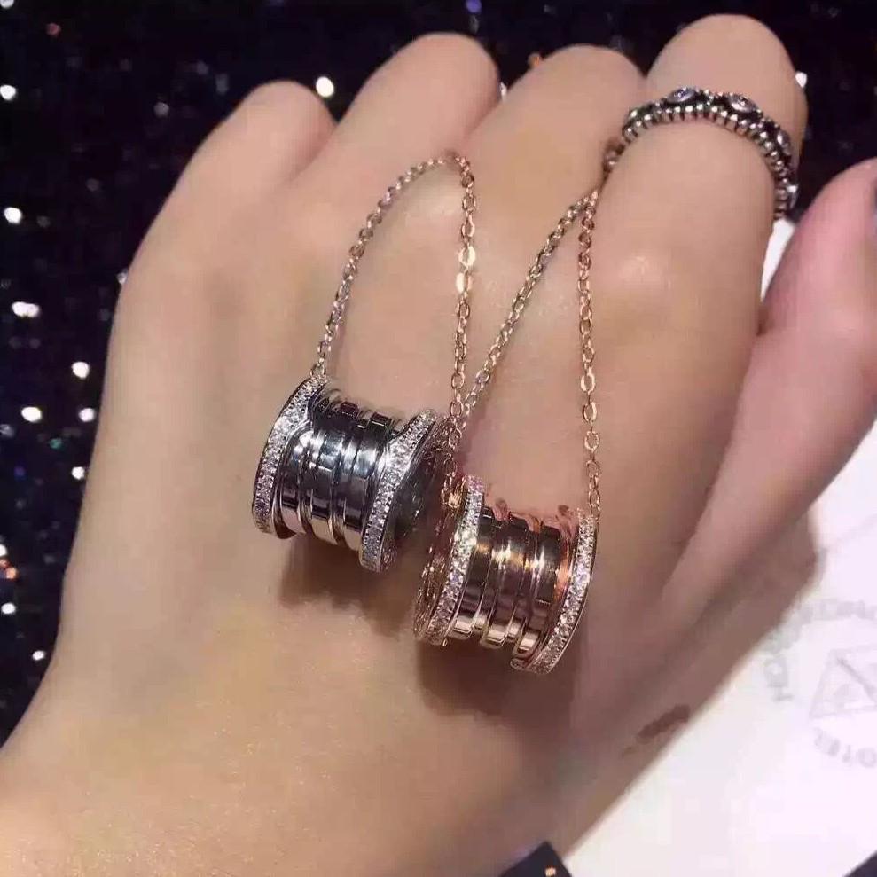 寶格麗bvlgari 925 純銀雙邊鑲鑽彈簧指環項鏈不褪色不過敏潮流爆款 卡地亞巴寶莉