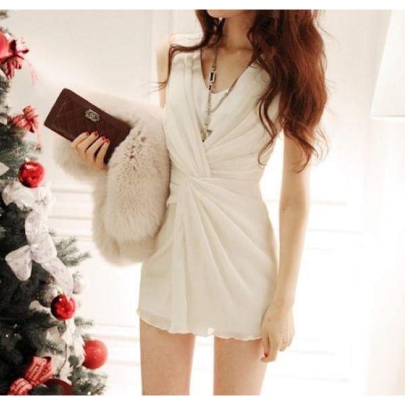 (兩色)洋裝連身裙交叉前雪紡皺摺抓皺無袖背心