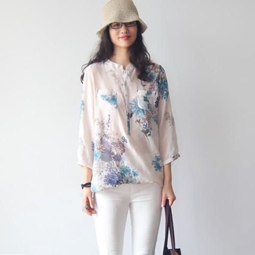 ~許願花園~韓風優雅氣質小清新水墨印花涼爽透氣長版寬鬆短袖棉麻衫