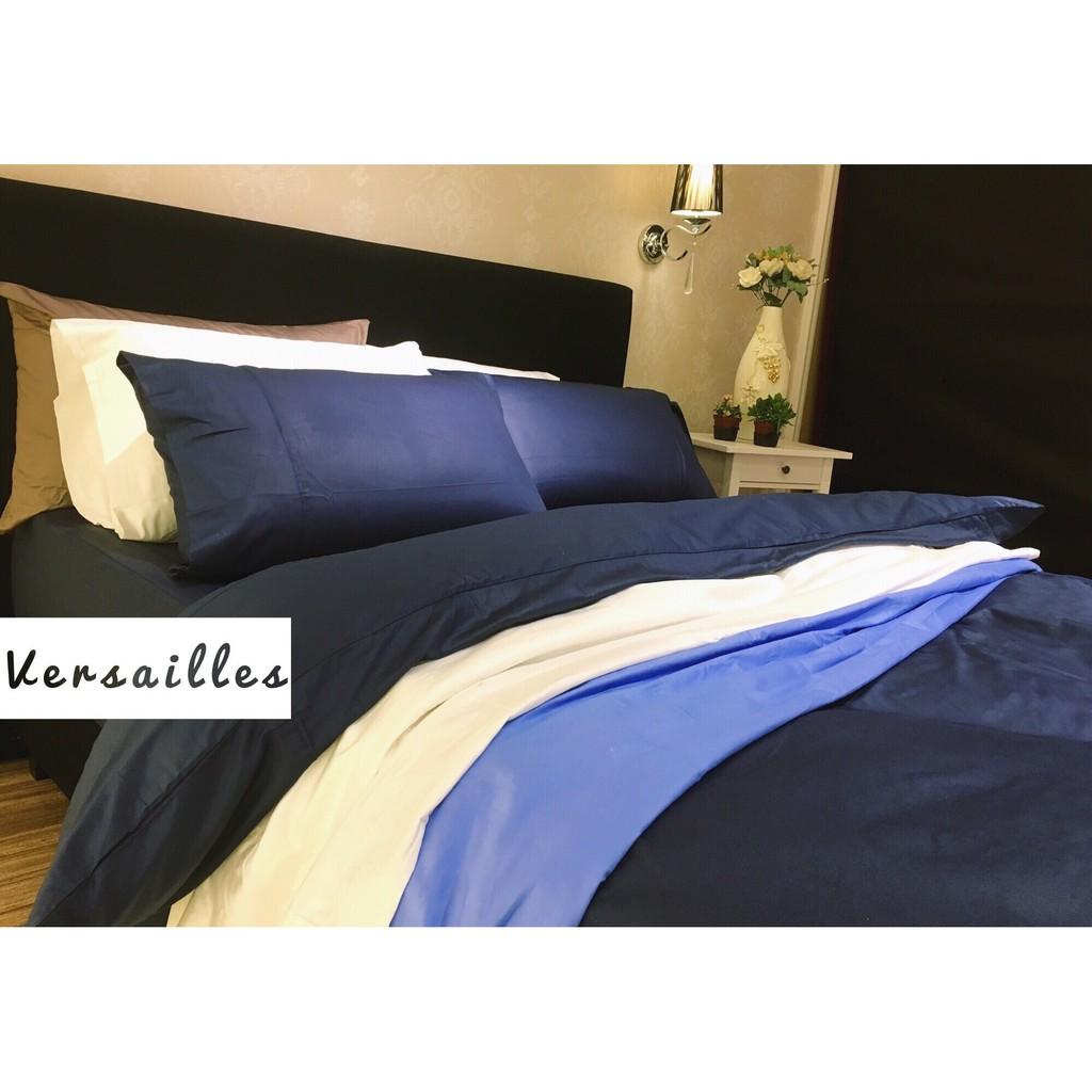 飯店風床包組午夜藍蔚藍純棉床包單人床包雙人床包素色床包深藍天空藍