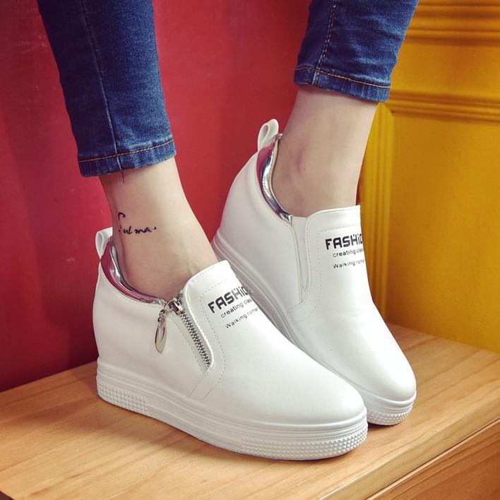 韓國范 春秋套腳百搭學生樂福鞋厚底單鞋內增高小白鞋松糕底女鞋