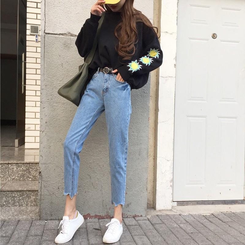 加大 大碼牛仔褲小清新學生九分褲高腰修身顯瘦直筒春 小腳褲淺色 褲 女生衣著