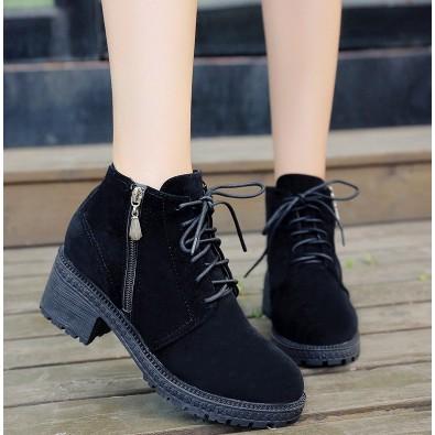 2016 英倫風女鞋粗跟短靴女春秋單靴棉鞋高跟馬丁靴女磨砂皮靴子女