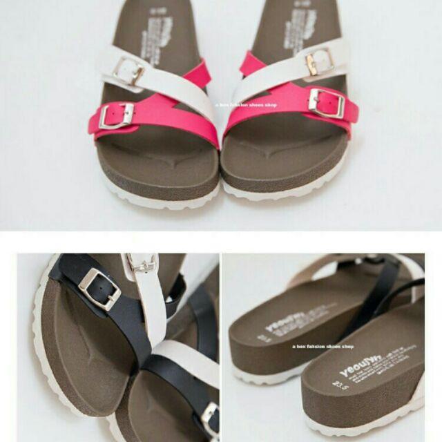 Damita MIT 製女款超舒適高 皮革交錯雙釦羅馬厚底拖鞋涼鞋3 色