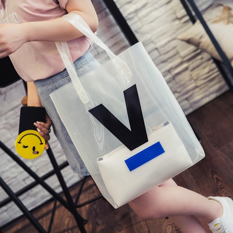 包包2016 透明包潮大托特包豎版塑料包單肩包手提包女包子母包