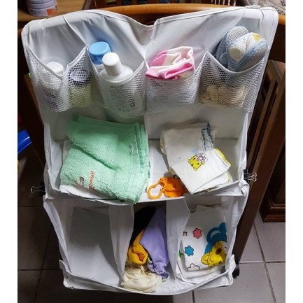 q997 床邊尿布掛袋收納袋床邊掛袋送10 條紗布巾