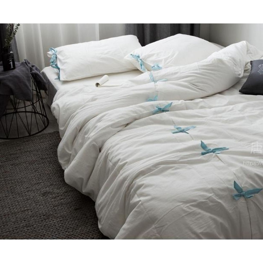 懶人良品北歐 緞帶蝴蝶結純棉雙人床單人床組床包床罩被套