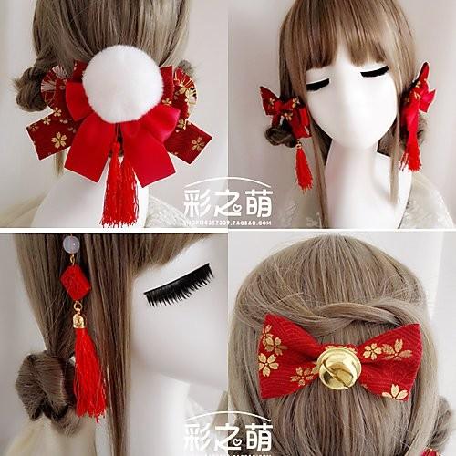 貓熊繽雰新年紅色櫻花燙金和風 蝴蝶結流蘇復古中國風髮飾頭飾中華風古裝和服旗袍紅白金Goth