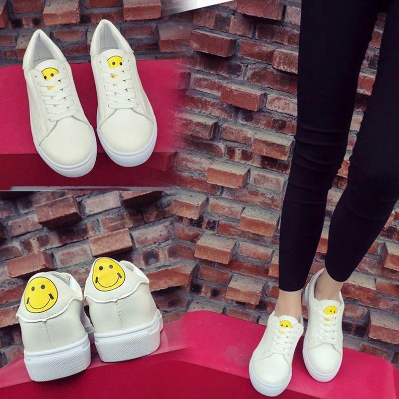 Girl 潮流‖春  鞋系帶笑臉小白鞋平底 鞋女款板鞋學院風女鞋潮
