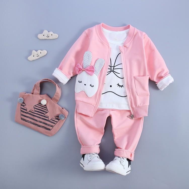 女童寶寶秋裝兔子三件式套裝賣場滿千打九折