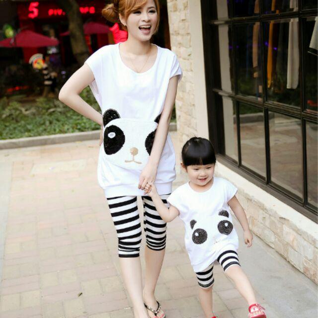 套裝夏裝 親子母女 兩件套熊貓亮片母女親子裝夏裝母女裝