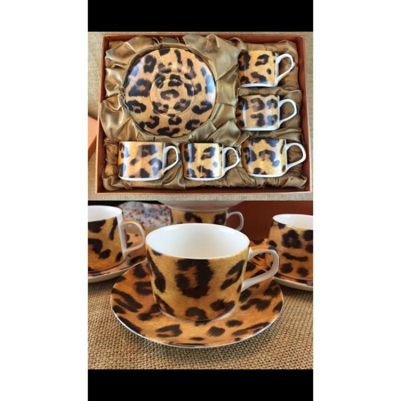奢華豹紋五杯五盤午茶組奶茶動物骨瓷杯 年終 5 杯5 盤骨瓷杯咖啡杯年終送禮自用兩相宜喬遷